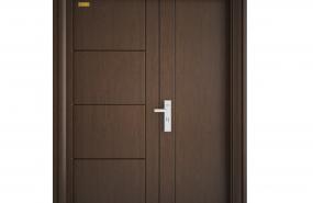 Cửa thép vân gỗ cánh lệch-GS3H10
